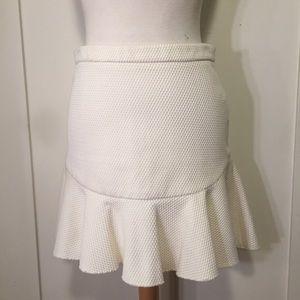 Zara ivory cream waffle textured swing skirt